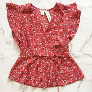 NWT Monteau Red Floral Peplum Faux Wrap Top Blouse